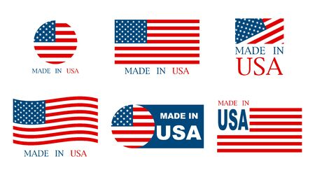 Made in the USA set of banner on a white background. Vector illustration Vector Illustration