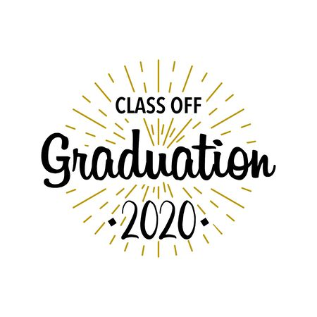 Graduation class off. Sunburst with text. Template Design Elements. Vector illustration Illustration