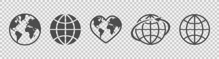 Globe set. Earth linear icons. Flat style. Vector illustration