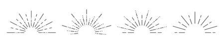 Starburst set on a white background. Isolated background. Vector illustration