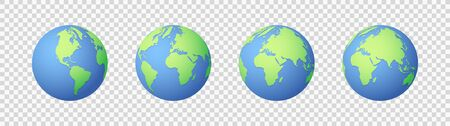 Earth icons set. Globe icon. Flat design vector illustration for web banner, web and mobile, infographics. Vector 向量圖像
