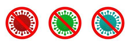 Stop coronavirus sign set. Coronavirus icon, 2019-nCoV. Dangerous Coronavirus Cell in China. Vector illustration. Coronavirus symbol