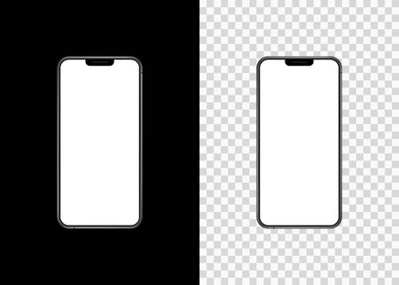 Mockup phone empty screen front view on isolated and black background. Vector illustration