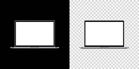 Mockup laptop empty screen front view on isolated and black background. Vector illustration 向量圖像