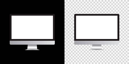 Mockup monitor empty screen front view on isolated and black background. Vector illustration 向量圖像