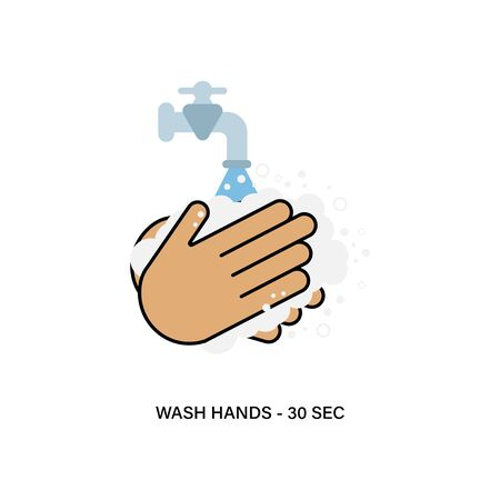 Hygiene products. Wash hand symbol. Protection advice and safety health. Vector illustration