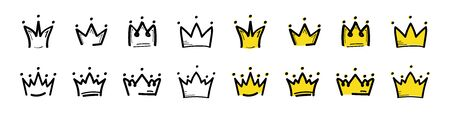 Gold crown icon. Big collection quality crowns. Linear crown. Royal Crown icons collection set. Vector 向量圖像