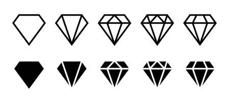 Diamond icon. Big collection quality diamonds. Linear diamond style and silhouette. Royal diamond icons collection set. Vector