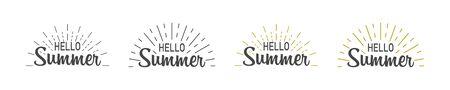 Hello summer set with burst. Hello summer hand lettering inspirational typography poster or banner. Vector illustration 向量圖像