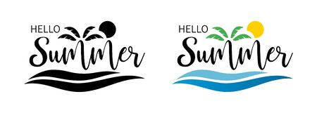 Hello summer set. Sea palm summer of banner. Hello summer hand lettering inspirational typography poster or banner. Vector illustration