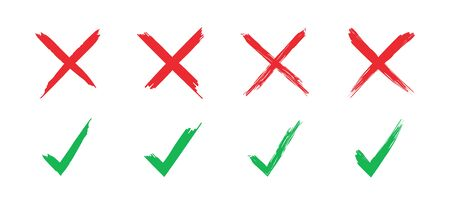 Tick and cross set of signs. Checkmark and cross brush draw. Grange style. Vector illustration