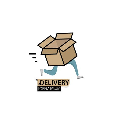 Fast delivery with a running box.  template design. Vector illustration