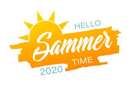 Hello summer time banner or poster. Summer event concept. Vector illustration