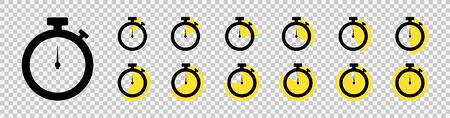 Timer icon set. Countdown timers. Stopwatch symbol on a transparent background. Vector illustration  イラスト・ベクター素材