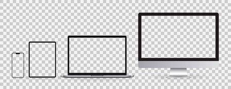 Realistic set of Monitor, laptop, tablet, smartphone on transparent background. Mockup set of device. Vector illustration