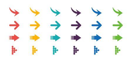 Arrows set icon. Arrows set vector illustration. Arrow icon. Colorful arrow symbols. vector icon. Arrows vector collection. Vector 向量圖像