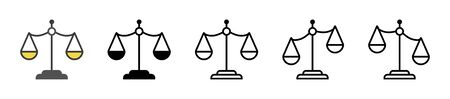 Scale icon. Set of scale justice icon on isolated background. Vector
