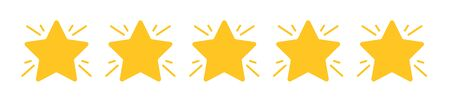 Five stars icon. Star rating symbol. Set of star icon on isolated background. Vector