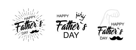 Father's Day Calligraphy greeting cards set. Vector illustration with hand draw lettering.