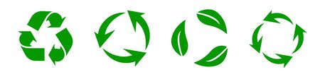 Recycle set panorama. Green recycling and rotation arrow icon pack. Web elements. Vector
