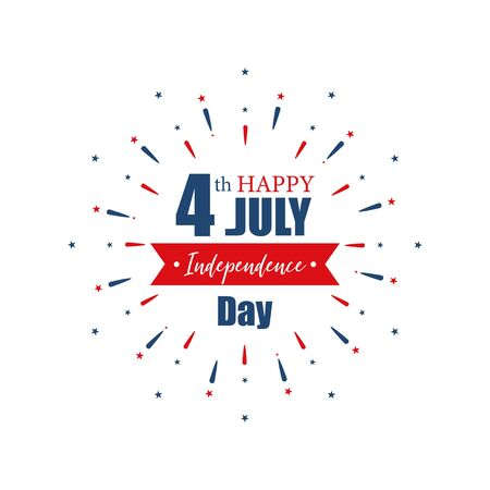 4th July Independence Day. Happy Independence Day of United States of America calligraphy background. Set of banner Independence Day with firework. Vector 向量圖像