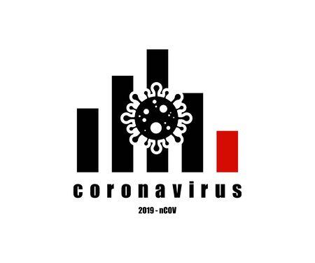 Coronavirus icon graph down economic impact , 2019-nCoV. Dangerous Coronavirus Cell . Vector illustration. Coronavirus symbol