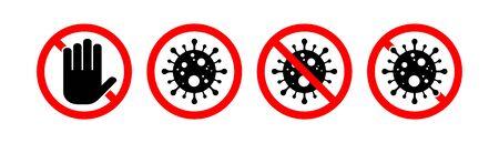 Stop coronavirus sign set. Coronavirus icon, 2019-nCoV. Dangerous Coronavirus Cell . Vector illustration. Coronavirus symbol