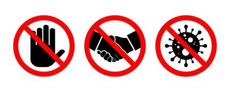 Stop handshake sign set. Coronavirus illustration. Danger sign. Vector illustration