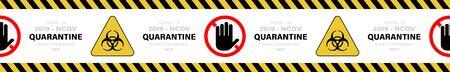 Stop quarantine banner or ribbon. Warning coronavirus sign on white banner. Vector illustration 向量圖像
