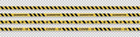 Strips of quarantine. Warning coronavirus quarantine yellow and black stripes. Isolated on transparent background. Vector illustration 向量圖像