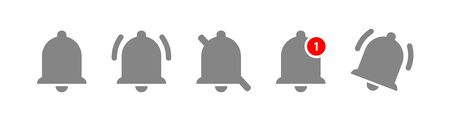 Bell notification icons. Button with bells of notification isolated symbols. Vector illustration