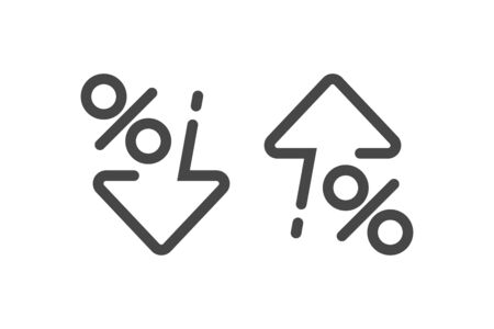 Percent down and up in line style. Concept of icons procent low and high. Vector illustration