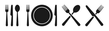 Set of fork, knife, spoon. Set in flat style. Silhouette of cutlery. Vector
