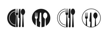 Set of fork, knife, spoon. Logotype menu. Set in flat style. Silhouette of cutlery. Vector
