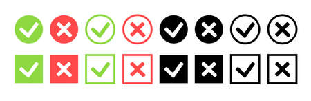 Green check mark and red cross icon set. Circle and square style. Vector illustration Ilustrace