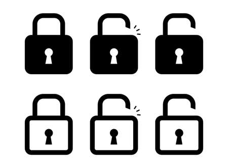 Lock icon in flat and linear style. On or off lock. Web icon set. Vector