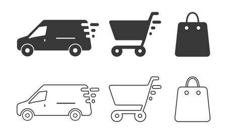 Bag, basket, delivery icon for online shopping vector isolated collection. Delivery icons in line style. Concept of delivery signs. Online shop symbol. Vector illustration Ilustrace