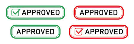Approved Stamp red or green approved square rubber stamp on white background. Approved set. Vector