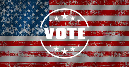 Vote. Vote USA. Set of Poster in different shape, text Vote. United State of America flag. Grange style. Vector illustration