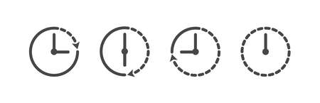 Set of time icon. Clock icon in linear style. Vector illustration
