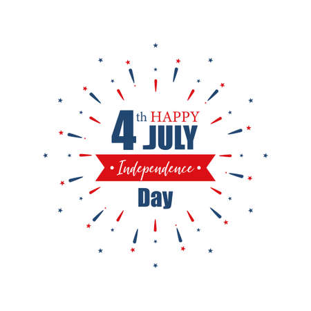 4th July Independence Day. Happy Independence Day of United States of America calligraphy background. Set of banner Independence Day with firework. Vector Ilustrace