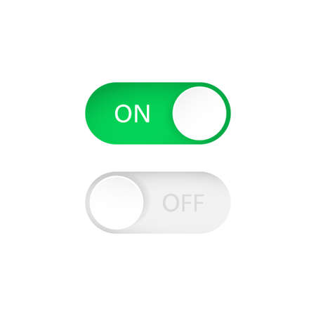 On and Off toggle switch buttons. Switch on or off. Vector