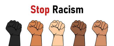 Black Lives Matter concept. Stop racism. Banner, poster with text inscription. Vector illustration