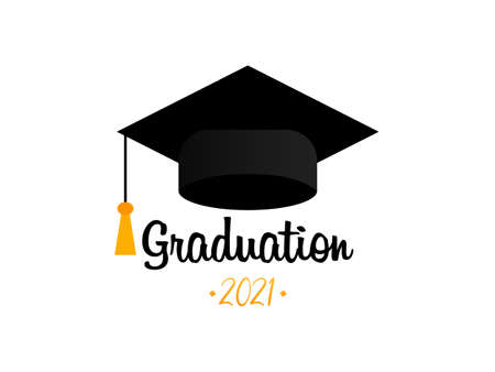 Graduation 2021. Graduation cap. Template Design Elements. Graduation Logo. Vector illustration