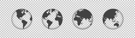 Set of globes or Earth transparent. Globe with transparent texture and shadow. Vector illustration