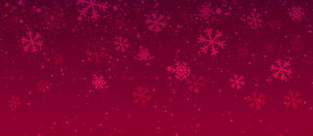 Snow. Red christmas banner with snowflakes. Realistic snow overlay background. Snowfall, snowflakes in different shapes and forms. Snowfall isolated. Vector illustration Ilustrace
