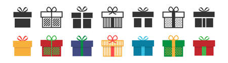 Gift box icon. Present symbol. Christmas box. Surprise with gift box in flat style. Set with gift in colorful style. Vector illustration