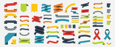 Ribbon set in colorful design. Banner or ribbon set in flat design. Ribbon icon set. Vector illustration Ilustrace