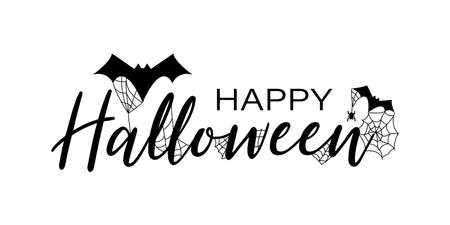 Halloween. Happy halloween. Calligraphy with spider web and bats for greeting cards, posters, banners, flyers and invitations. Poster for halloween. Vector