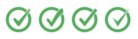 Set of green check mark icons. Check marks symbol collection. Simple check mark green colored. Vector illustration Ilustrace